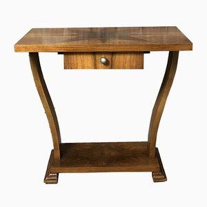 Table Piédestal Art Deco avec Marqueterie Étiolée