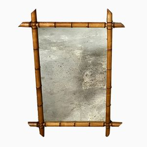 Vintage Mirror with Bamboo Frame
