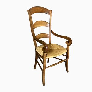 Antiker Louis Philippe Armlehnstuhl aus Nussholz
