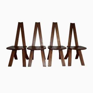 S45 Stühle aus massivem Ulmenholz von Pierre Chapo für Gorde, 1970er, 4er Set