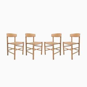 Vintage J39 Stühle aus Eiche von Børge Mogensen für Fredericia, 4er Set