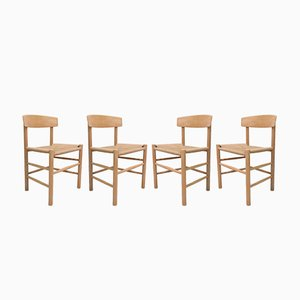 Vintage Oak J39 Chairs by Børge Mogensen for Fredericia, Set of 4
