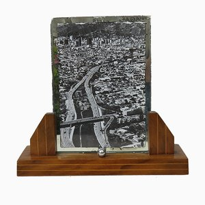 French Art-Deco Wood & Chrome Picture Frame