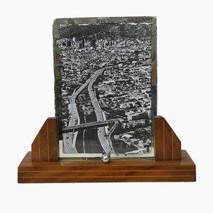Portarretratos francés Art-Deco de madera y cromo