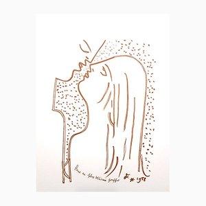 Lithographie The Kiss par Jean Cocteau, 1958