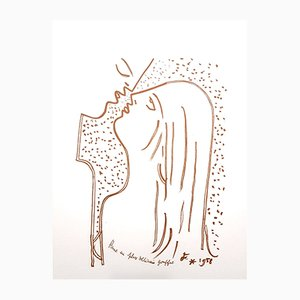 The Kiss Lithograph by Jean Cocteau, 1958