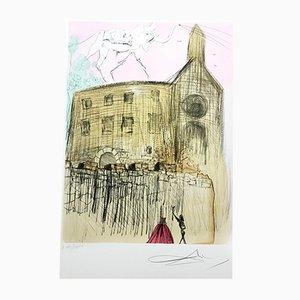 Gravure Gala's Castle par Salvador Dali pour Atelier Rigal, 1974