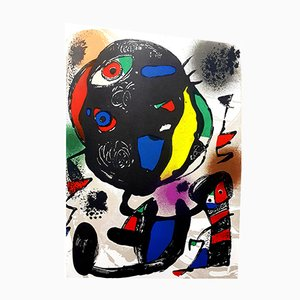 Abstract Lithographie von Joan Miro, 1981