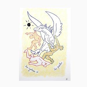 Vintage Poets Lithografie von Jean Cocteau