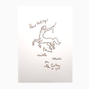 Paul Valery Poems Lithograph by Jean Cocteau, 1958