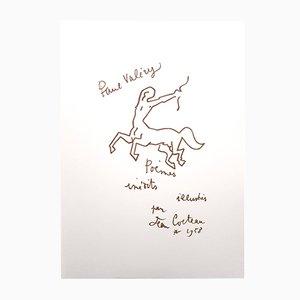 Paul Valery Poems Lithographie von Jean Cocteau, 1958