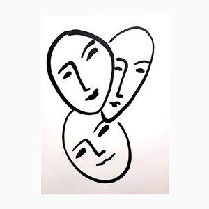 Litografia Tre volti di Henri Matisse, 1952