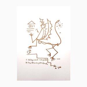 Surrealistische Creature Lithographie von Jean Cocteau, 1958