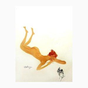 Française Lithograph by Jean-Gabriel Domergue, 1956