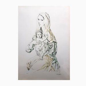 Vintage Madonna with Child Lithograph by Leonard Foujita