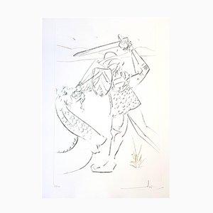 Gravure The Fall de Lancelot par Salvador Dalí, 1975