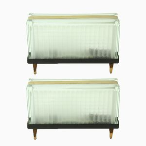 Art Deco Czechoslovakian Brass & Glass Table Lamps, 1940s, Set of 2