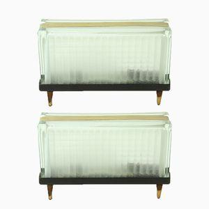 Tschechoslowakische Art Deco Tischlampen aus Messing & Glas, 1940er, 2er Set