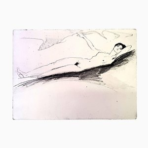 Lying Naked Etching by Jean Gabriel Domergue, 1924