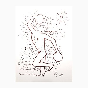 The Boxer Lithograph by Jean Cocteau, 1958