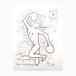 The Boxer Lithograph by Jean Cocteau, 1958
