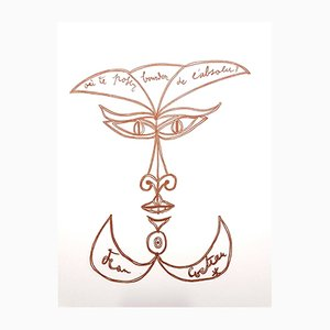 Surrealist Smile Lithograph by Jean Cocteau, 1958