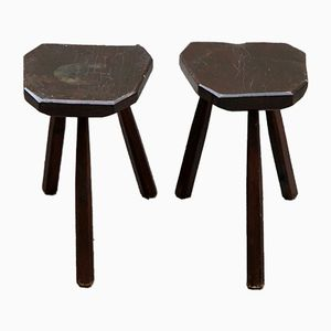 Wooden Tripod Stools, 1950s, Set of 2