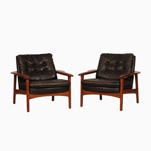 Scandinavian Leather & Teak Lounge Chairs, 1980s, Set of 2