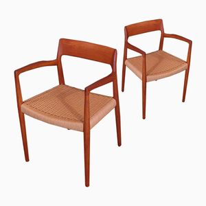 Model 57 Teak Armchairs by Niels O. Møller for J.L. Møllers, Set of 2
