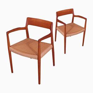 Modell 57 Armlehnstühle aus Teak von N.O. Møller für J.L. Møllers, 2er Set