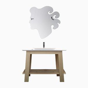 Massiver weißer Kosmetiktisch aus Eschenholz für das Bad von Fabio Crimi für Merati
