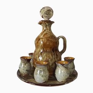 Servizio da liquore in ceramica Vallauris di Francia Bongioanni, anni '50