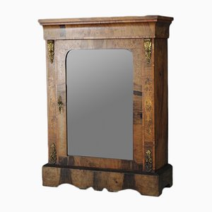 Antique Walnut Glazed Pier Cabinet