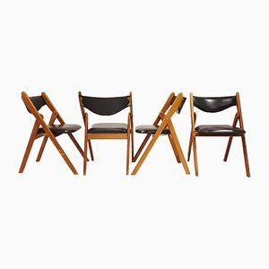 Scandinavian Teak and Leatherette Folding Chairs, 1960s, Set of 4