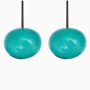 Turquoise Glass Lights, 1960s, Set of 2
