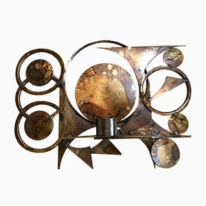 Danish Sculptural Metal Wall Art & Candle Holder by Henrik Horst, 1960s