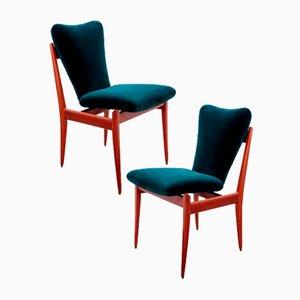 Italian Velvet and Teak Chairs, 1960s, Set of 2