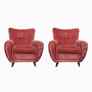 Fauteuils en Velours Rose, Italie, 1950s, Set de 2