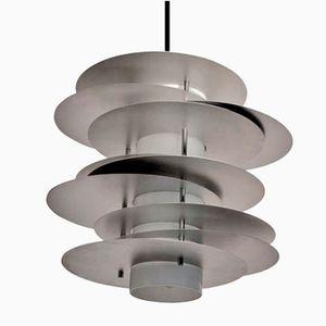 Lámpara colgante Selenova de aluminio y vidrio, años 70