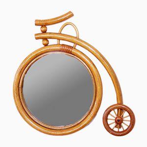 Specchio vintage a forma di bicicletta in vimini, anni '70