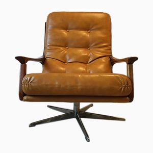 Mid-Century Camel Leather Swivel Lounge Chair, 1960s