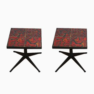 Vintage French Side Tables from La Roue de Vallauris, Set of 2