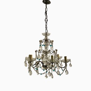 Antique Crystal Chandelier with Blue Crystal Beads