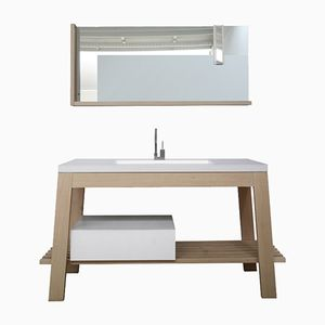 Solid Ash Bathroom Table Set by Fabio Crimi for Merati