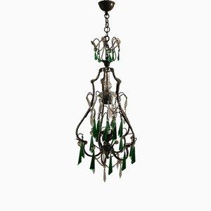 Lámpara colgante francesa vintage de cristal