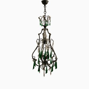 Vintage French Crystal Pendant Light