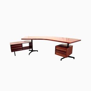 T96 Boomerang Executive Schreibtisch von Osvaldo Borsani für Tecno, 1955