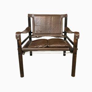 Sirocco Safari Stuhl mit Lederbezug von Arne Norell, 1960er