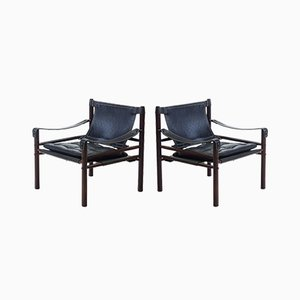 Sirocco Safari Chairs in Rosewood and Black Leather by Arne Norell, 1960s, Set of 2