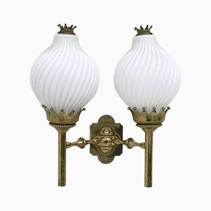 Large Opaline Glass and Brass Sconce from Arredoluce, 1950s